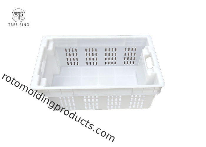Mesh Wall And Solid Bottom Hygienic 180 Stack Nest Fishing Crate Totes For Agriculture Fruit
